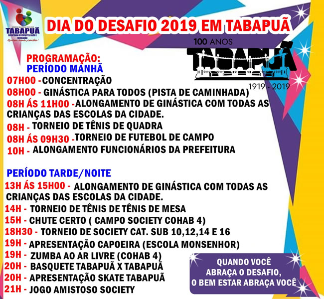 Cartaz sobre o Dia do Desafio